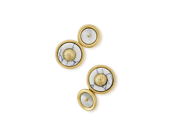 Gold cufflinks with Howlite and Mother of Pearl; fine jewellery London