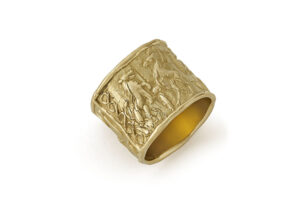 Gold ring decorated with roller seal; fine jewellery London