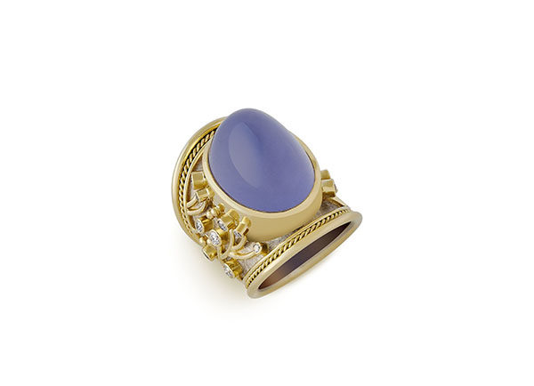 Chalcedony and Diamond Tapered Templar Ring