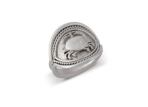 White gold ring with cancer motif; zodiac ring; fine jewellery London