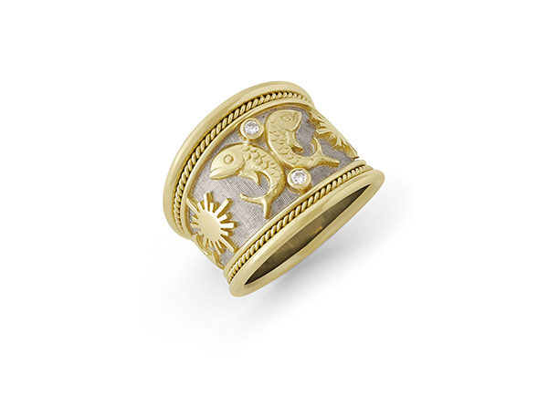 Pisces Zodiac Tapered Ring