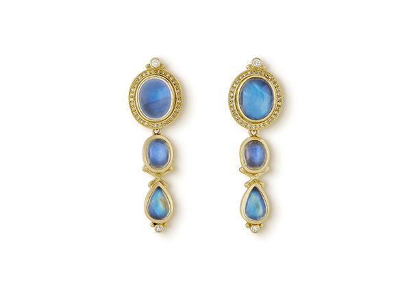 Gold earrings with blue moonstones and diamonds; fine jewellery London