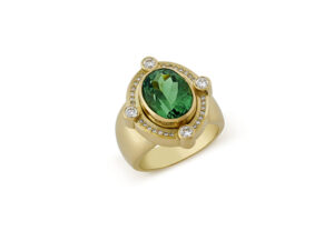 GOld ring with mint green tourmaline and diamonds; fine jewellery London