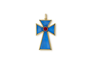 Gold Cross Pendant with blue enamel; fine jewellery London