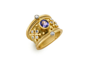 Yellow and white gold Tapered Templar Ring with tanzanite and diamonds; fine jewellery London