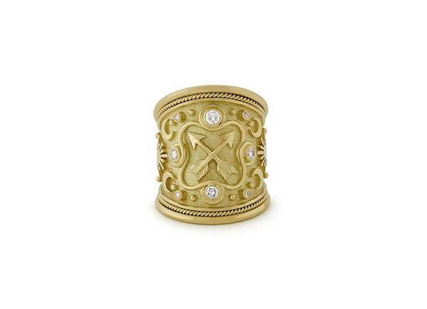 Sagittarius and Diamond Zodiac Tapered Ring