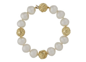 Pearl Bracelet with Molten Gold Ball Clasp