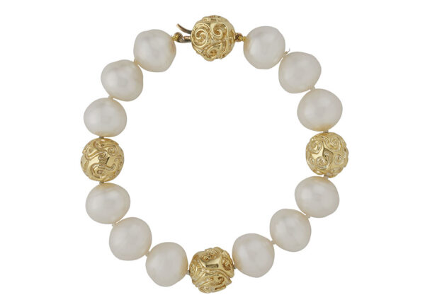 Pearl Bracelet with Molten Gold Ball Clasp; fine jewellery London