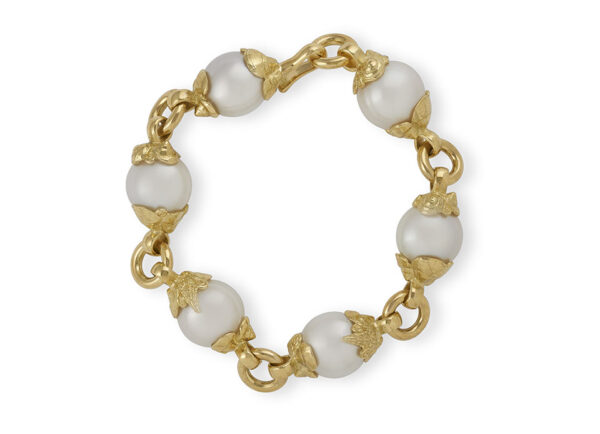 South Sea Cultured Pearl Bracelet with Shell Caps