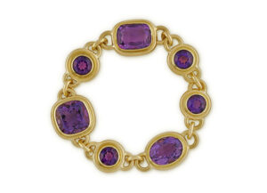 GOld bracelet with amethysts; fine jewellery London