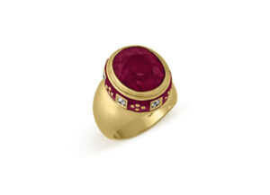 18ct yellow gold Charlemagne ring with Rubellite, Diamonds and purple enamel; fine jewellery London