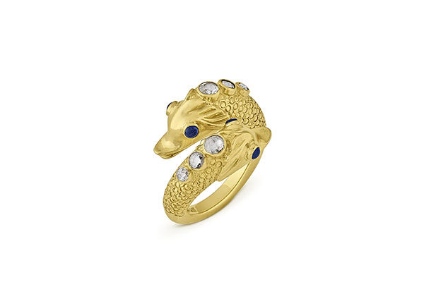 Gold Dolphin Ring with sapphires and diamonds; fine jewellery London