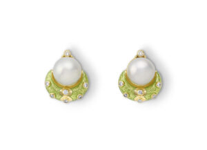 Pearl and Green Enamel Eleanor Earrings