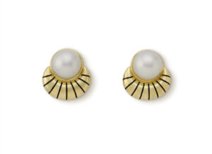 Pearl and Black Enamel Eleanor Earrings; gold earrings; fine jewellery London.