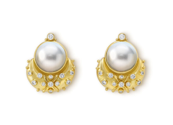 Gold Earrings with Pearls and Diamonds; fine jewellery London
