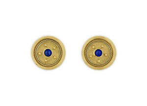 18ct yellow gold stud earrings with sapphire centre; fine jewellery London