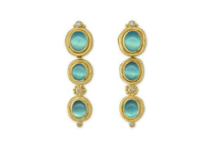 Peruvian Opal and Diamond Drop Earrings