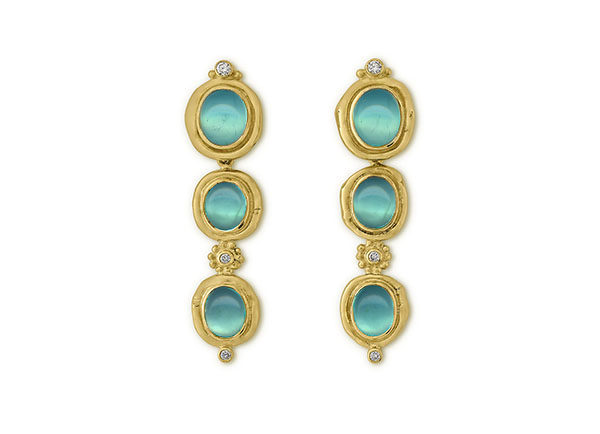 18ct yellow gold drop earrings with Peruvian opals and diamonds; fine jewellery London