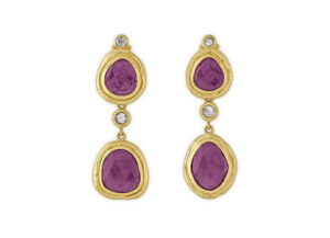 Gold drop earrings with rose cut diamond and watermelon Tourmaline; fine jewellery London