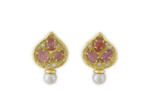 Diamond, pink tourmaline leaf earrings in 18ct yellow gold; fine jewellery London