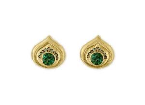 Peacock earring enamel earrings set with Tourmalines