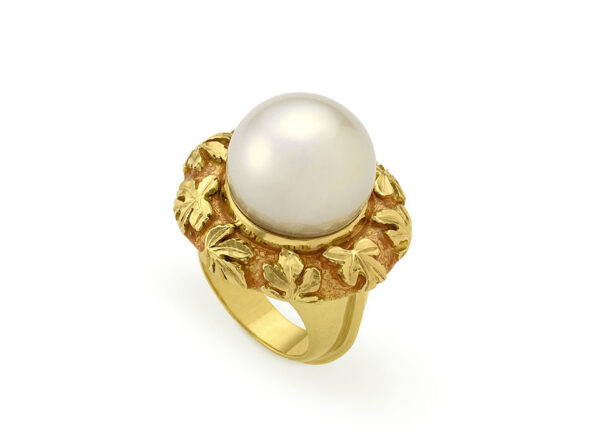 Pearl Orlov Ring with Pale Tangerine Enamel and carved vine leaves; fine jewellery London