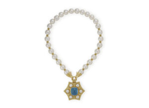 Necklace with South Sea cultured pearls decorated with myrtle leaves and detachable star-shaped pendant; fine jewellery London