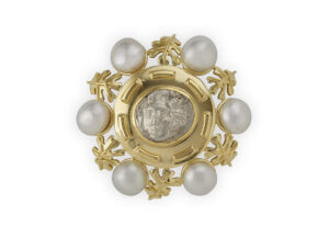 Gold pin with Silver Coin, oak leaf motifs and Pearls; gold brooch; fine jewellery london