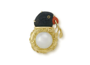 Blue Tourmaline Parrot and Pearl Pin; gold brooch; fine jewellery London