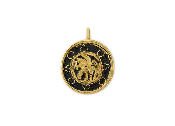 18ct yellow gold Western Asiatic Bronze and Gold Winged Horse pendant; fine jewellery London