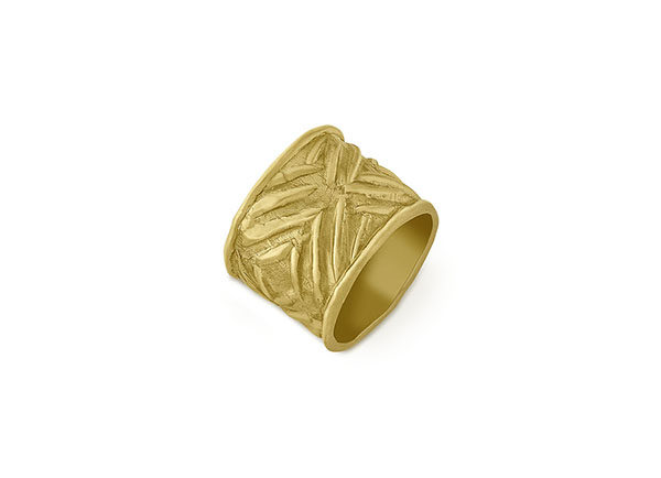 18ct yellow gold roller seal ring with chevrons; gold ring; fine jewellery London