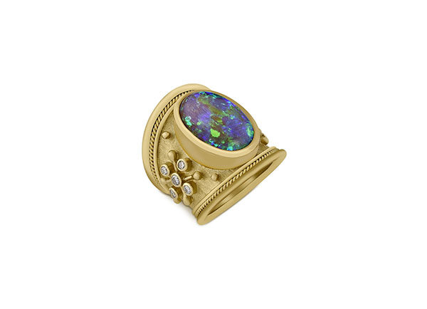 Black Opal Tapered Templar Ring; fine jewellery London