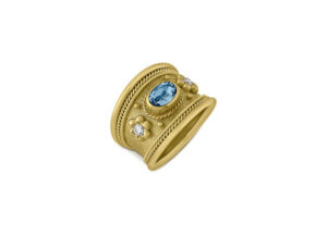 Aquamarine and Diamond Tapered Templar Ring