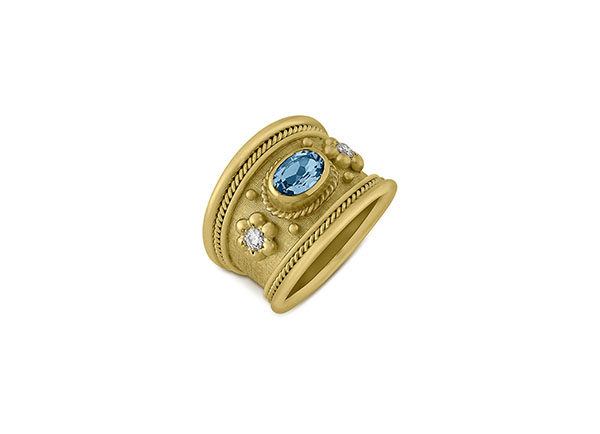 Aquamarine and Diamond Tapered Templar Ring; fine jewellery London