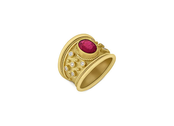 Ruby and Diamond Tapered Templar Ring