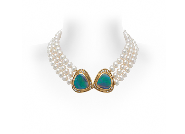 Pearl and Black Opal Necklace Bust
