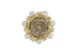 chalcedony rose and pearl pin