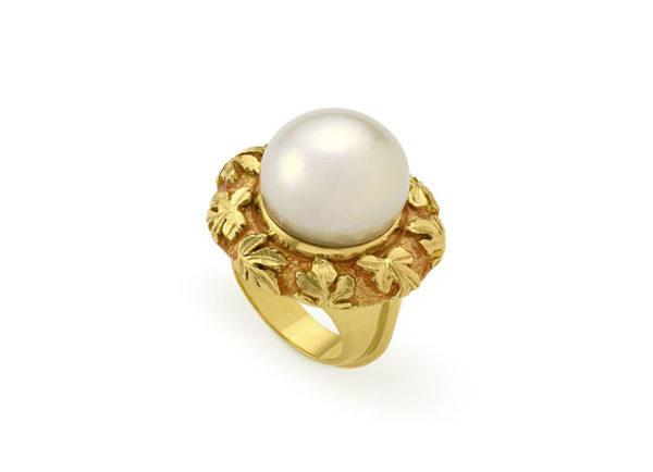 pearl orlov ring with pale tangerine enamel