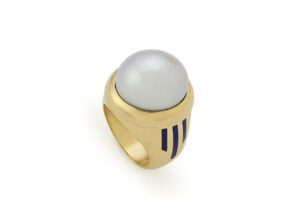 south sea pearl ring with blue enamel stripes