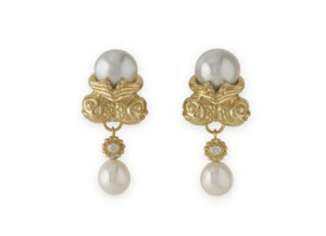 twin fish pearl earrings