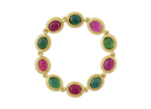 18ct gold bracelet with pink and green Tourmaline; fine jewellery London