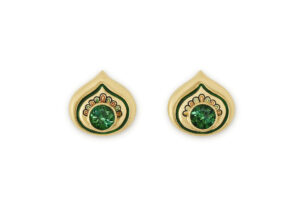 Yellow gold earrings with green-blue tourmaline and peacock feather pattern enamel; fine jewellery London