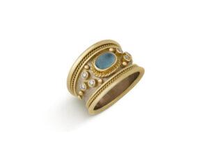 March Aquamaring Tapered Templar Ring