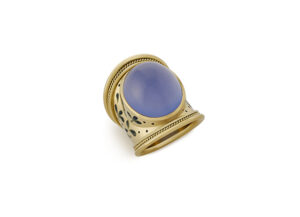 Chalcedony Tapered Templar Ring; gold ring; fine jewellery London