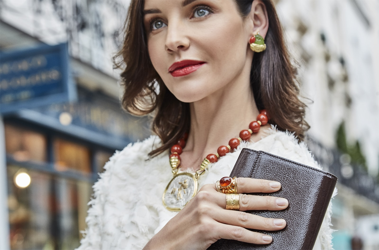 How to style Elizabeth Gage Mandarin Garnet Tapered Templar Ring and other fine jewellery