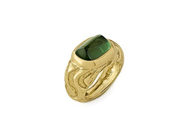 Green Tourmaline Molten Gold Ring