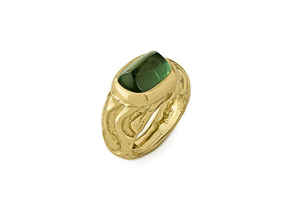 Green Tourmaline Molten Gold Ring