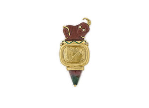 Gazelle amulet / Bi-colour tourm / Roller seal plaque / Dias / Green enamel / Fine jewellery London
