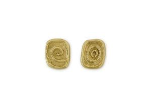 Molten Gold Stud Earrings; fine jewellery London
