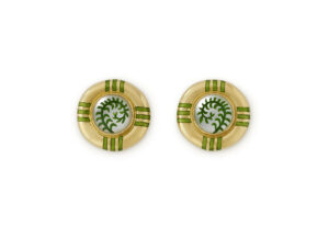 18ct yellow gold earrings with rock crystal and green enamel; fine jewellery London